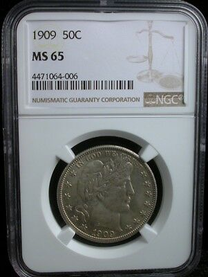 1909 50c NGC MS 65 1909 BARBER HALF DOLLAR SILVER 50c BETTER DATE
