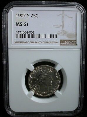 1902-S 25c NGC MS 61 1902 S BARBER QUARTER SILVER 25c