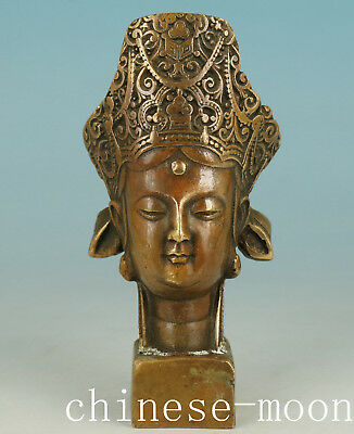 Chinese Bronze Handmade Carved Kwan-yin Statue Seals Ornament