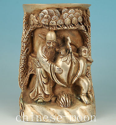 Chinese Copper Plating Silver Handmade Carved Sage Statue Brush Pot Ornament