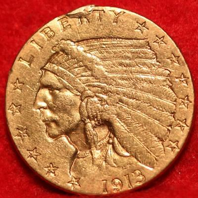 1913 Philadelphia Mint Gold $2.50 Coin Free Shipping