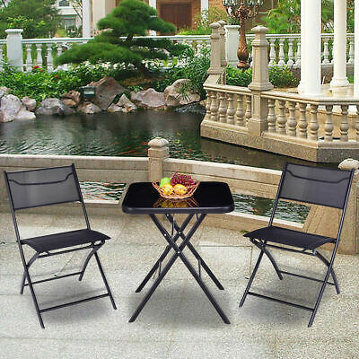 Outdoor Patio 3PC Folding Square Table And Chair Suit Set Garden Bistro Backyard