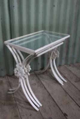 A French Style Vintage Wrought Iron & Glass Nest of Tables - Shabby Chic