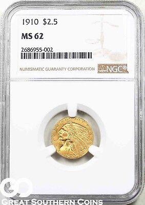 1910 NGC Quarter Eagle, $2.5 Gold Indian NGC MS 62 ** Very Nice, Free Shipping!