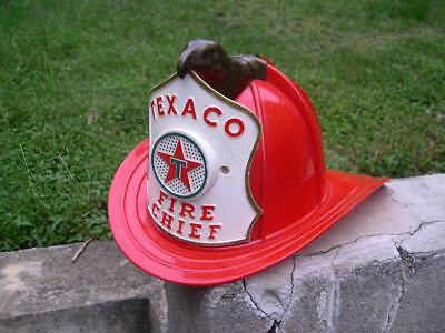 Vintage Texaco Fire Chief Helmet Hat with Eagle Head and Microphone 1960s.