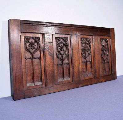 Antique French Gothic Revival Panel in Oak Wood