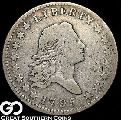1795 Flowing Hair Half Dollar, Seldom Seen Early Silver Type, Great Coin 4 Set!