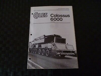 Coles Colossus 6000 85% Rating Tech Spec 8071/9/75 Brochure/booklet *as Pictures