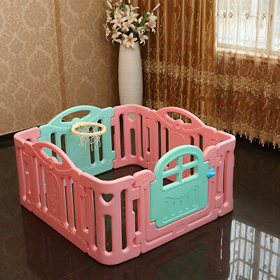 Pink+Blue Toddlers Kids Indoor Baby Steady Playpens Divider Safety Gate 8 Panel
