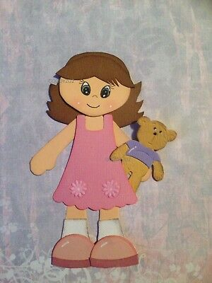 Handcrafted Little Girl With Teddy Paper Piecing - Acid Free - Scrapbooking