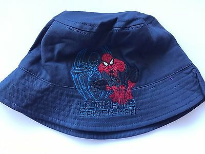 Boy Kids Children School Navy Blue Spiderman Cotton Bucket Sun Hat Cap 3-8 Years