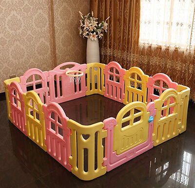 Pink+Yellow Toddlers Kids Steady Indoor Playpens Safety Divider Gate 14 Panel.