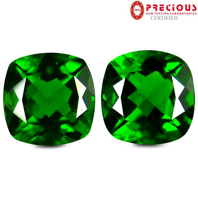 1.78 ct (2pcs) PGTL Certified  MATCHING PAIR  Cut (6 x 6 mm) Chrome Diopside