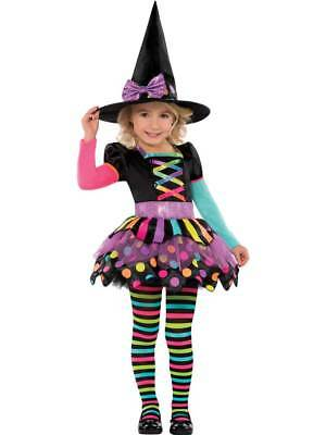 Deluxe Girls Toddler Miss Matched Witch Halloween Fancy Dress Costume Outfit 3-6
