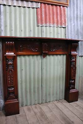 A Victorian Carved Mahogany Fire Place Surround - Mantle Piece