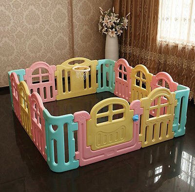 Toddlers Baby Kids Playpen Security Foldable Panels Indoor Play Fence 14 PCs.