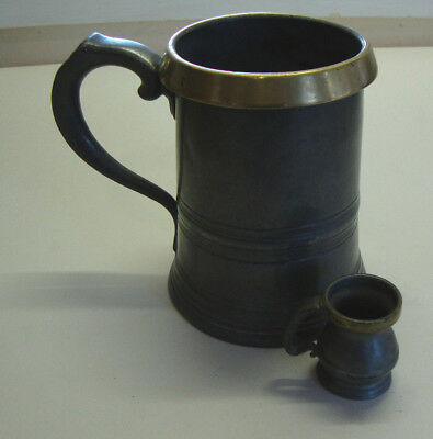 Antique early Victorian brass & pewter smal and large tankards