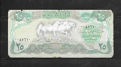 Iraq #74 1990 25 Dinar Good Circulated  Old Paper Money Currency Banknote Note