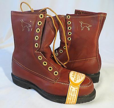 Vintage Double H Brand Leather Boots Work Shoes Dead Stock 8 D Lace Up