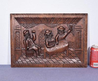 *Antique French Deeply Carved Architectural Panel Solid Oak w/Drinking Scene