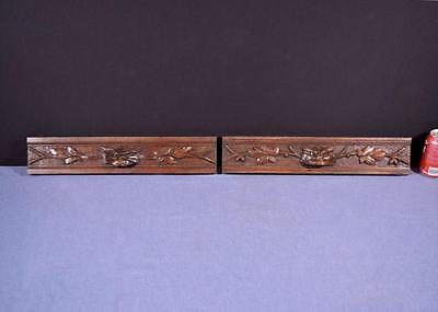 *French Antique Carved Architectural Hunting Panels/Drawer Fronts in Oak