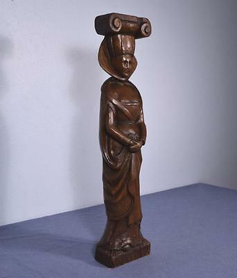 "*25"" Antique Hand Carved Sculpture Carved in Chestnut Wood of a Woman"