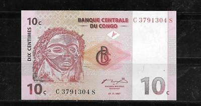 CONGO D.R #82a UNCIRCULATED 1997 10 CENTIMES BANKNOTE PAPER MONEY CURRENCY NOTE