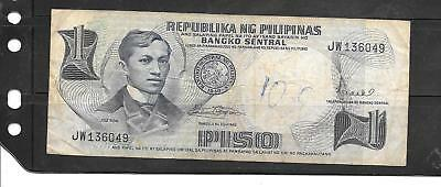 PHILIPPINES #142B 1969 vg USED PISO OLD BANKNOTE PAPER MONEY CURRENCY BILL NOTE