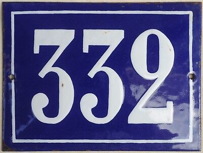 Large old French house number 332 door gate plate plaque enamel steel metal sign