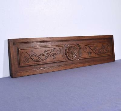 "*40"" French Antique Hand Carved Architectural Panel Oak Wood Trim Salvage"