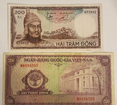 RARE South Vietnam two paper money 200 Dong Hai Tram Dong