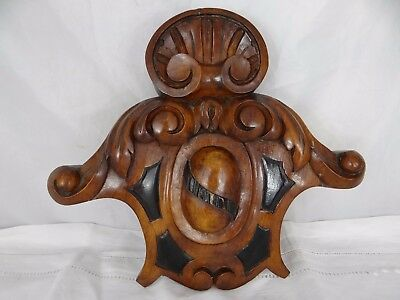 French Antique Pediment/Crest Architectural Solid Walnut Wood Fronton 19th