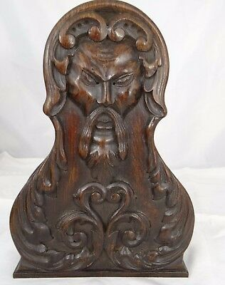 Antique French Pair of Wood Mahogany Carved Corbel -Trim Pieces - Chinese Face