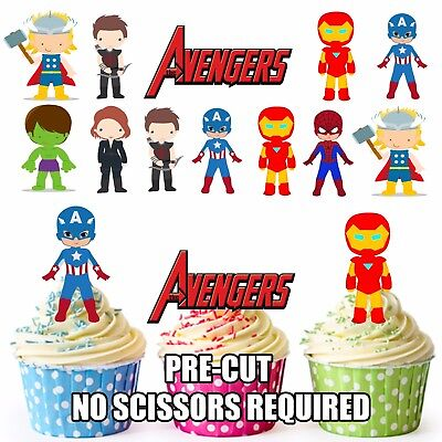 PRE-CUT Superhero Avengers Edible Cup Cake Toppers Party Decoration (Pack of 36)