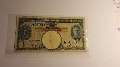 Malaysia Board of Commissioners of Currency one dollar 1941