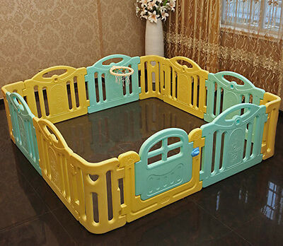 Baby Kids Playpen Security Foldable Panels Indoor Toddler Play Fence 12 PCs*.