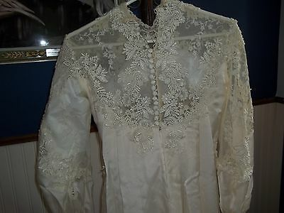 Vintage Lace w/ Pearls Train Wedding Dress Gown Victorian Style S-M Beige