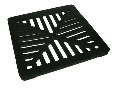 """Square 9"""" (230mm) Cast Iron Heavy Duty Gully Grid Drain Cover Grate Metal"""