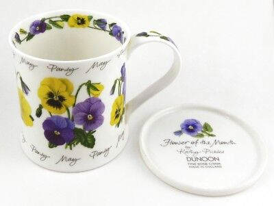 DUNOON - MAY PANSY FLOWER OF THE MONTH - Wessex Fine Bone China Mug & Saucer/Lid
