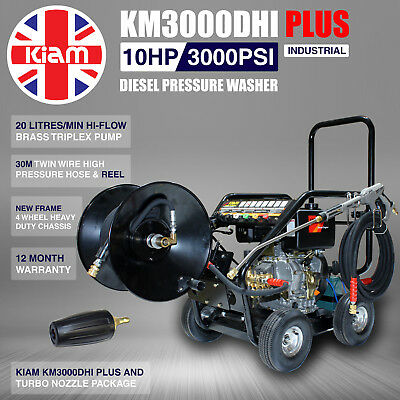 Kiam Diesel KM3000DHI PLUS Hiflow Pump Industrial Washer Turbo c/w 30m Hose Reel