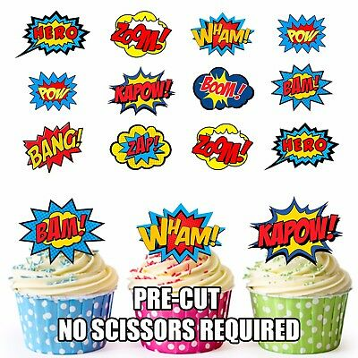 PRE-CUT Superhero Callout Speech Edible Cup Cake Toppers Decoration (Pack of 12)