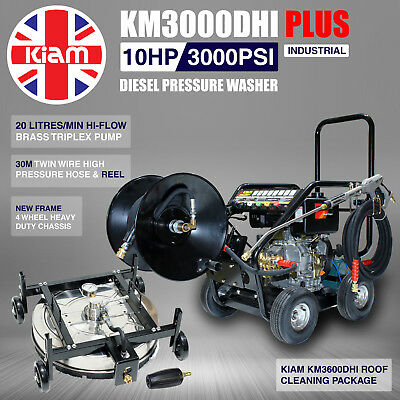 Kiam KM3000DHI PLUS Hi-Flow Diesel Washer Roof Cleaning Adjustable 30m Hose Reel
