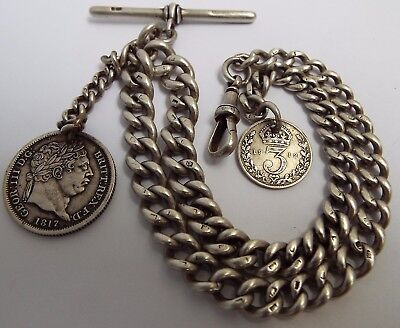 Fine Heavy English Antique 1884 Solid Sterling Silver Double Albert Watch Chain