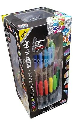 BIC Mark It 54 Pen Set Permanent Markers Fine & Ultra Fine + Tower Storage Stand