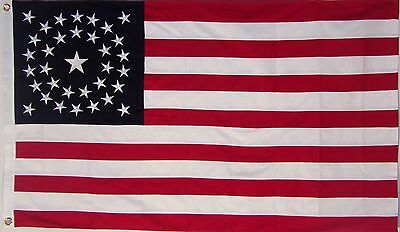 HEAVY COTTON 34 STAR AMERICAN FLAG  embroidered & sewn - HISTORICAL USA