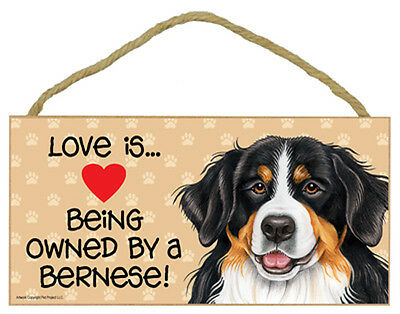 Love is Being Owned By a BERNESE Mountain Dog 5 x 10 Wood SIGN Plaque USA Made