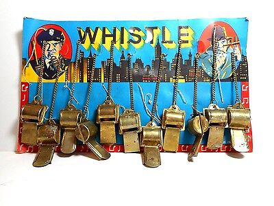 11 NOVELTY METAL TOY POLICEMAN WHISTLES ON CARD OLD STORE STOCK JAPAN 1950s 60s