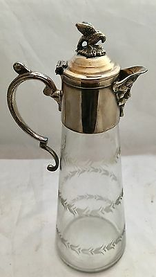 A Very Good Antique Claret Jug Silver Plated Mount
