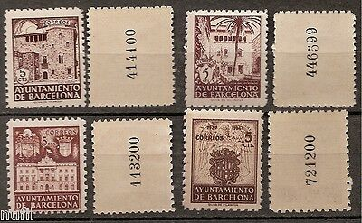 Spain Barcelona Edifil # 42,53,55 y 65 NA MNH Variety without letter