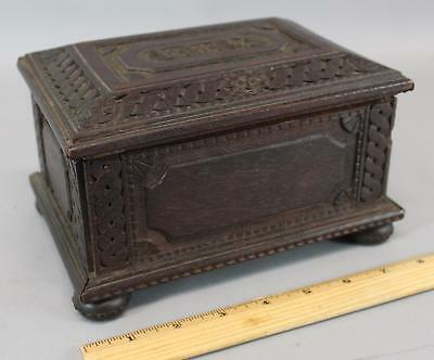 Antique 19thC Carved Walnut Miniature Blanket Chest Box Swiss Folk Art Painting,